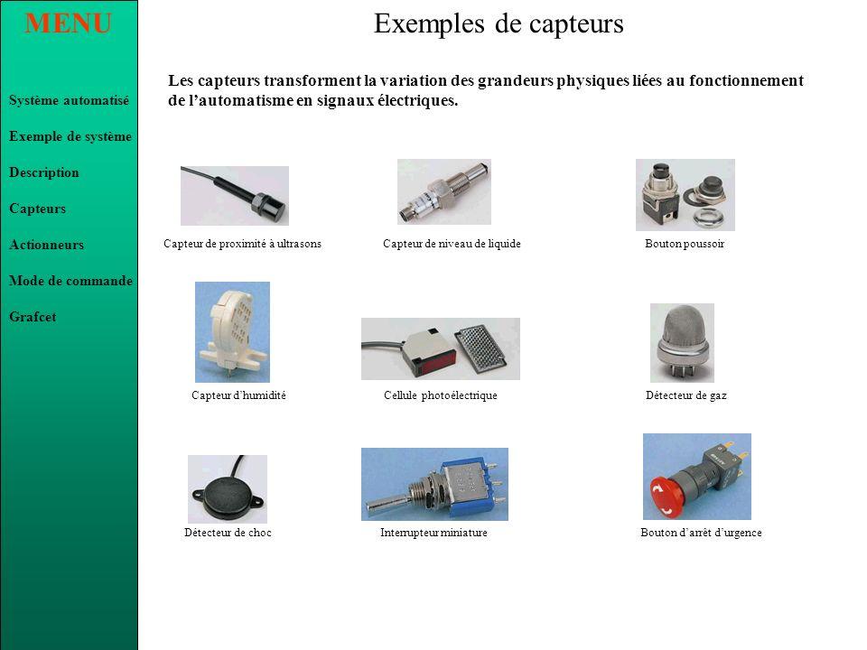 Exemples de capteursLes capteurs transforment la variation des grandeurs physiques liées au fonctionnement de l'automatisme en signaux électriques.