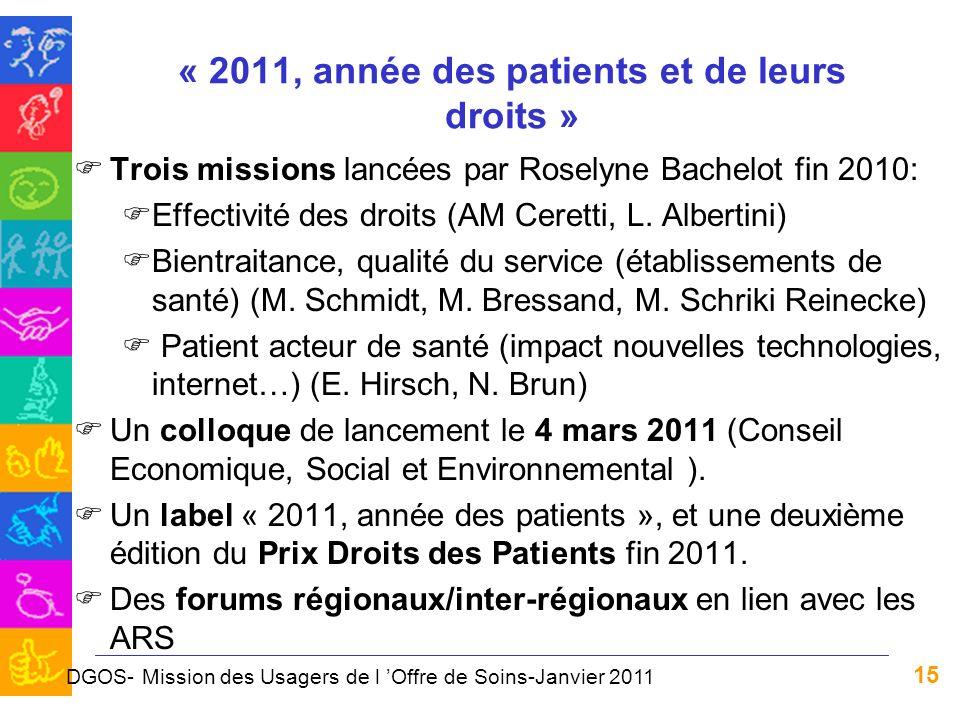 « 2011, année des patients et de leurs droits »
