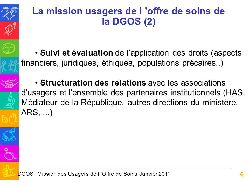 La mission usagers de l 'offre de soins de la DGOS (2)