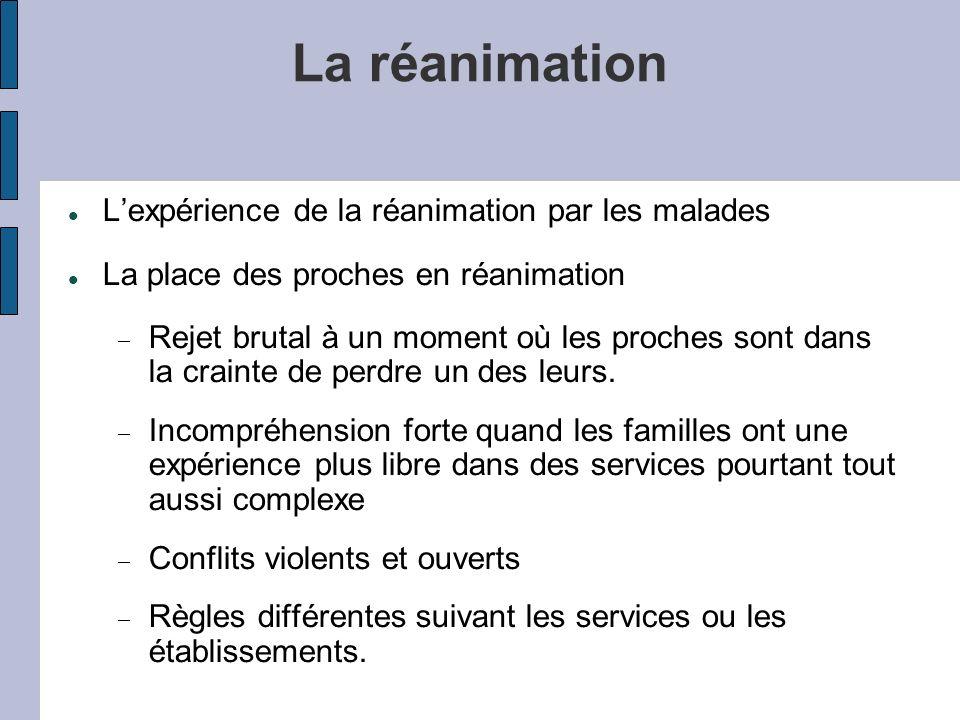La réanimation L'expérience de la réanimation par les malades
