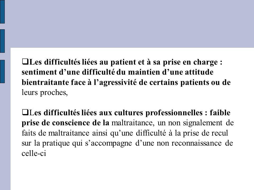Les difficultés liées au patient et à sa prise en charge : sentiment d'une difficulté du maintien d'une attitude bientraitante face à l'agressivité de certains patients ou de leurs proches,