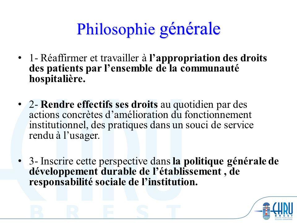 Philosophie générale 1- Réaffirmer et travailler à l'appropriation des droits des patients par l'ensemble de la communauté hospitalière.