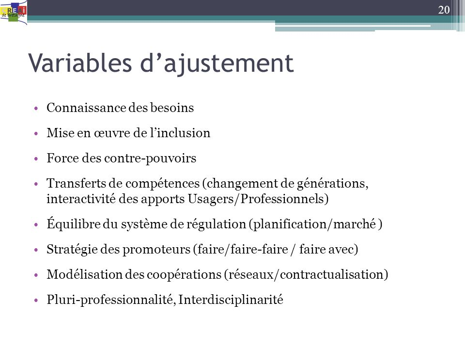 Variables d'ajustement