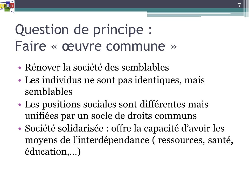 Question de principe : Faire « œuvre commune »