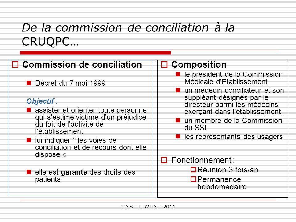 De la commission de conciliation à la CRUQPC…