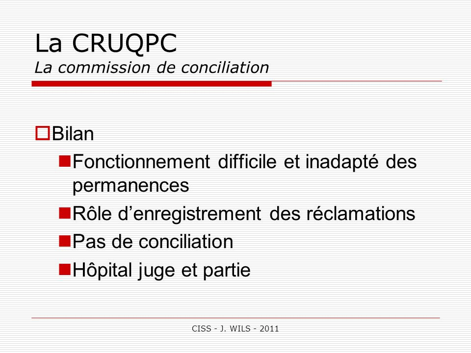 La CRUQPC La commission de conciliation