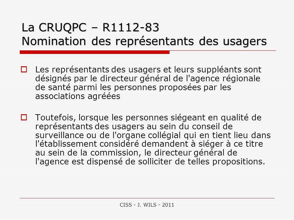 La CRUQPC – R1112-83 Nomination des représentants des usagers