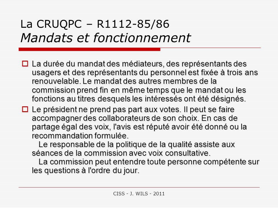 La CRUQPC – R1112-85/86 Mandats et fonctionnement