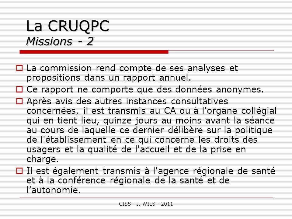 La CRUQPC Missions - 2 La commission rend compte de ses analyses et propositions dans un rapport annuel.