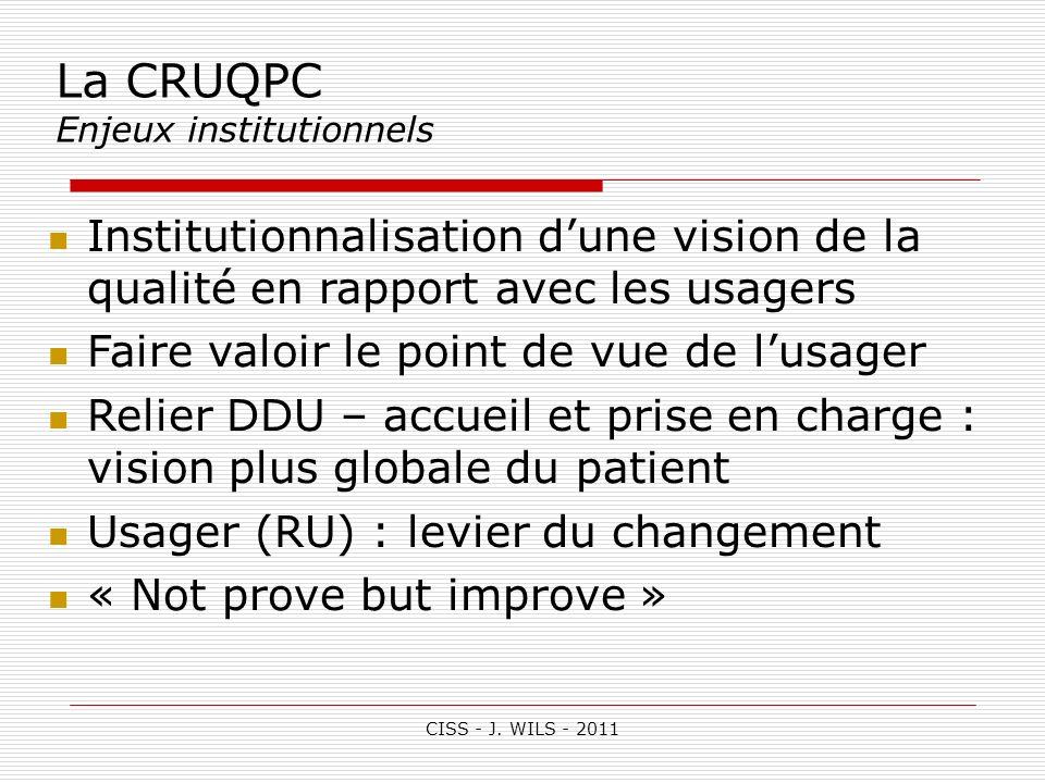 La CRUQPC Enjeux institutionnels. Institutionnalisation d'une vision de la qualité en rapport avec les usagers.