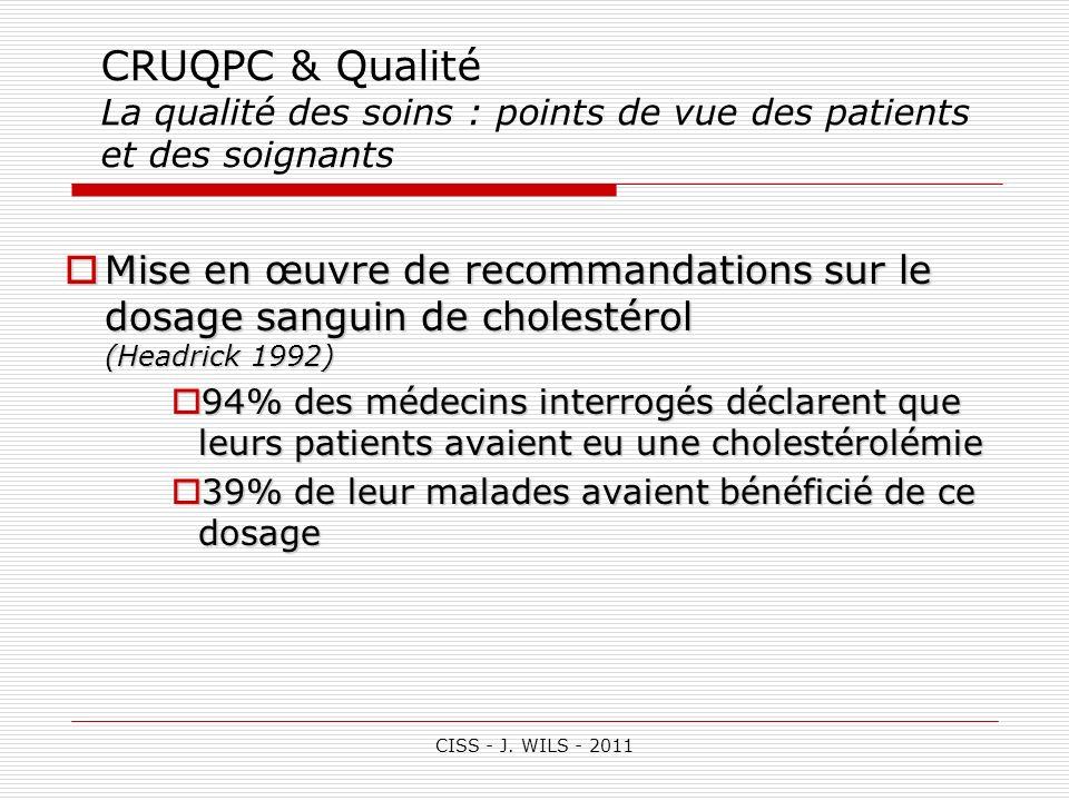CRUQPC & Qualité La qualité des soins : points de vue des patients et des soignants