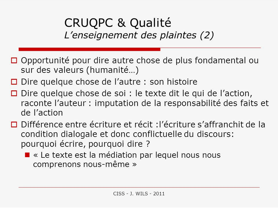 CRUQPC & Qualité L'enseignement des plaintes (2)