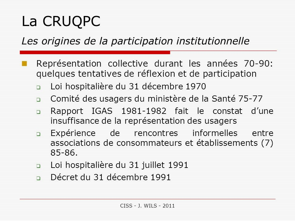 La CRUQPC Les origines de la participation institutionnelle