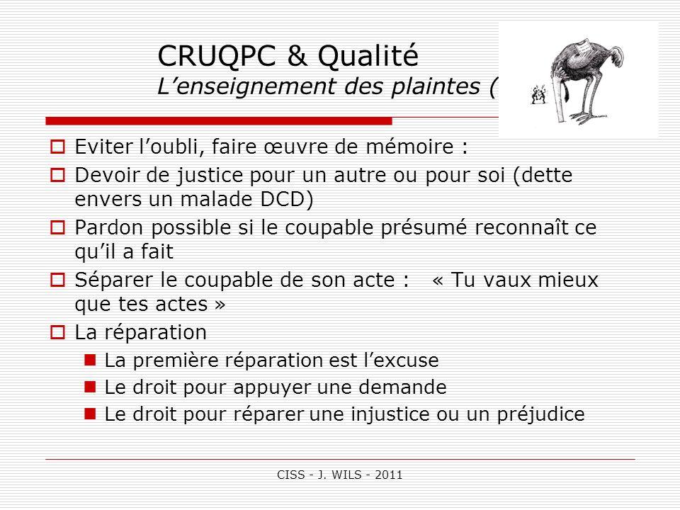 CRUQPC & Qualité L'enseignement des plaintes (3)