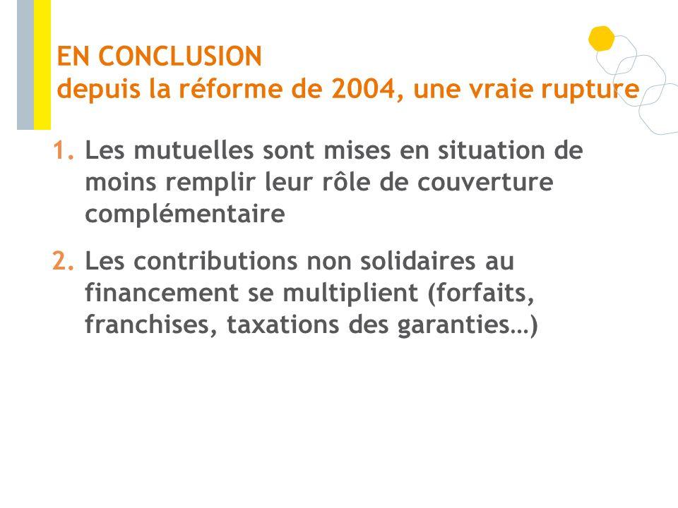 EN CONCLUSION depuis la réforme de 2004, une vraie rupture