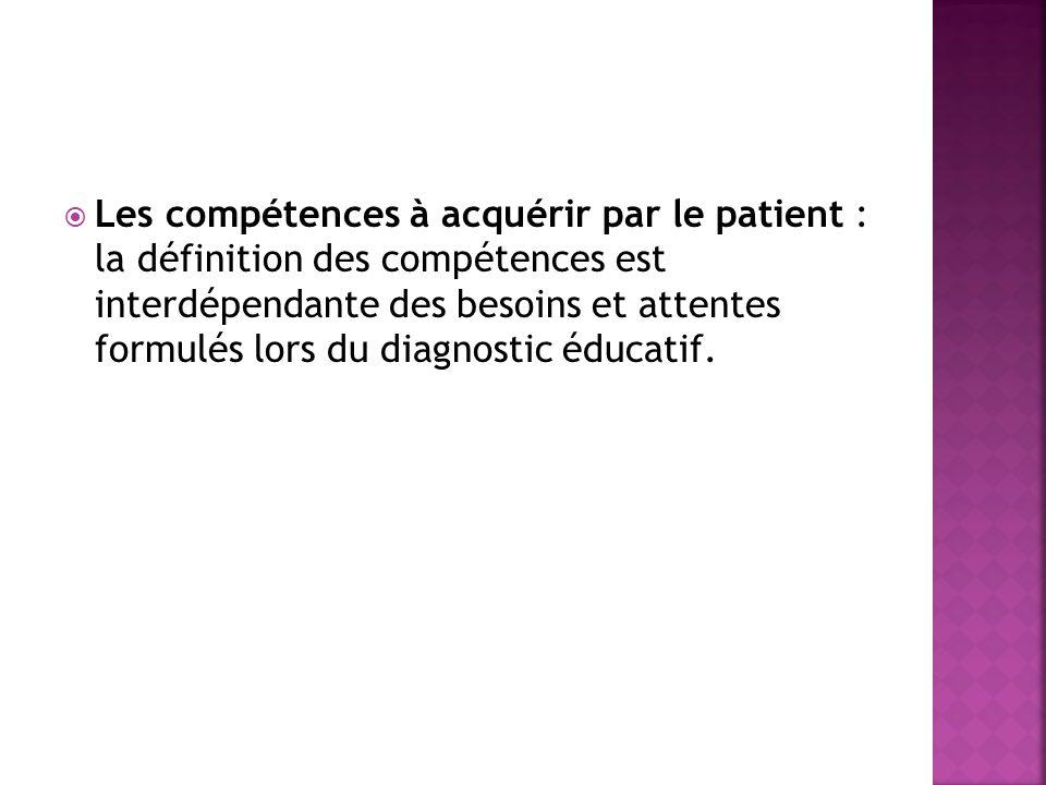 Les compétences à acquérir par le patient : la définition des compétences est interdépendante des besoins et attentes formulés lors du diagnostic éducatif.