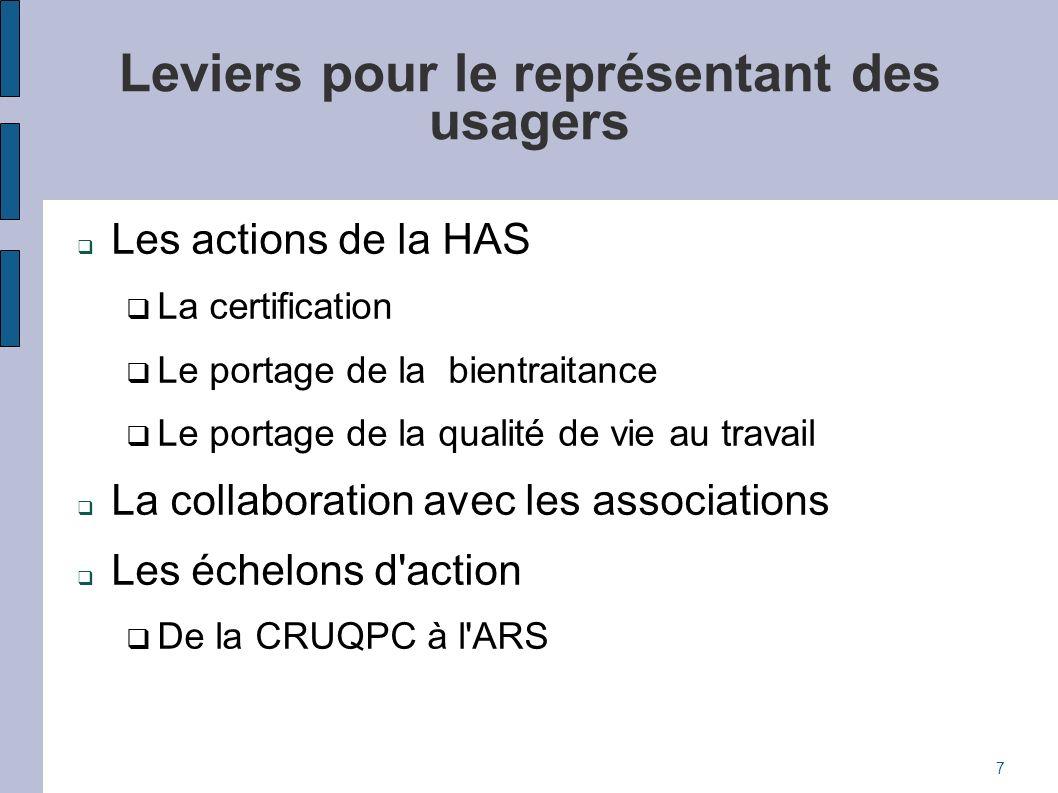 Leviers pour le représentant des usagers