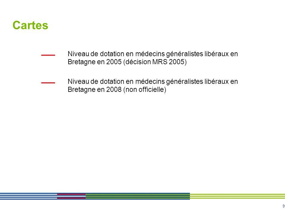 Cartes Niveau de dotation en médecins généralistes libéraux en Bretagne en 2005 (décision MRS 2005)