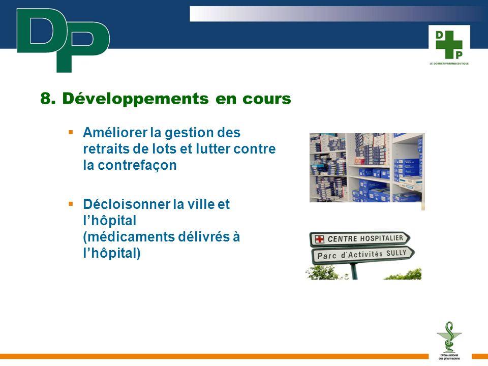 8. Développements en cours