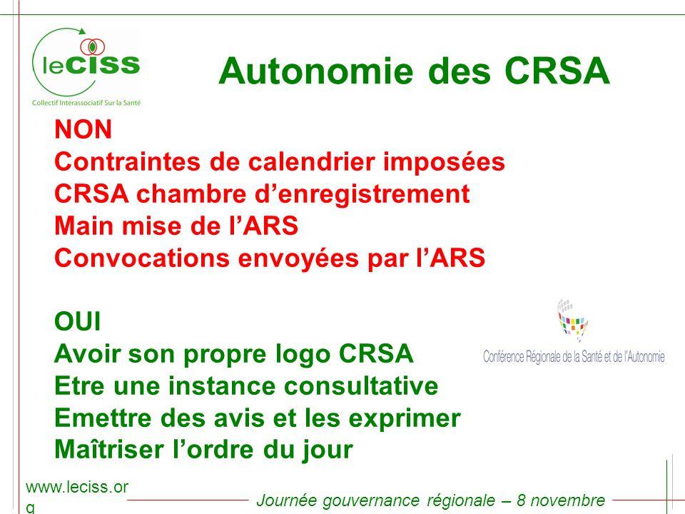 Autonomie des CRSA NON Contraintes de calendrier imposées