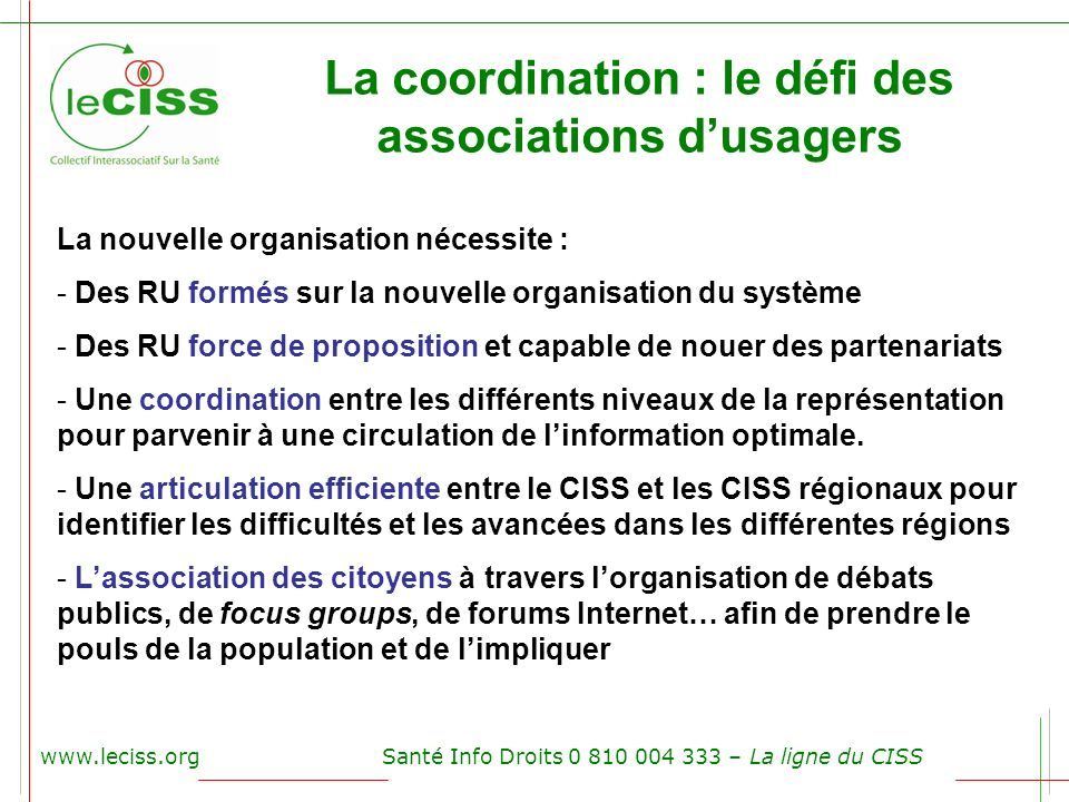 La coordination : le défi des associations d'usagers