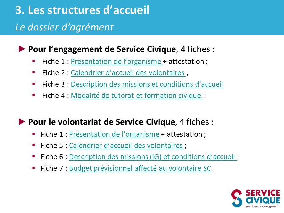 3. Les structures d'accueil Le dossier d'agrément