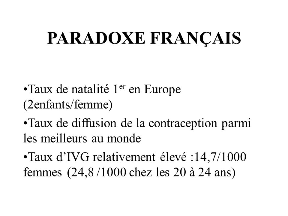 PARADOXE FRANÇAIS Taux de natalité 1er en Europe (2enfants/femme)