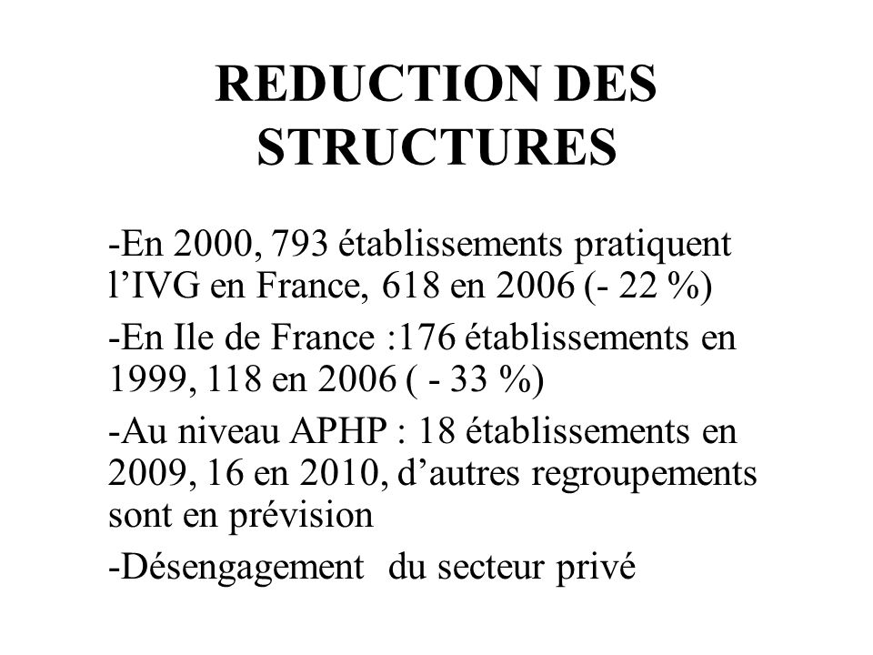 REDUCTION DES STRUCTURES