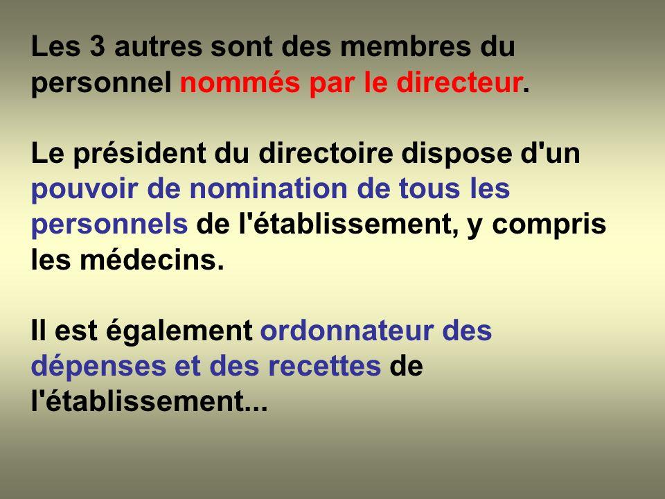 Les 3 autres sont des membres du personnel nommés par le directeur.