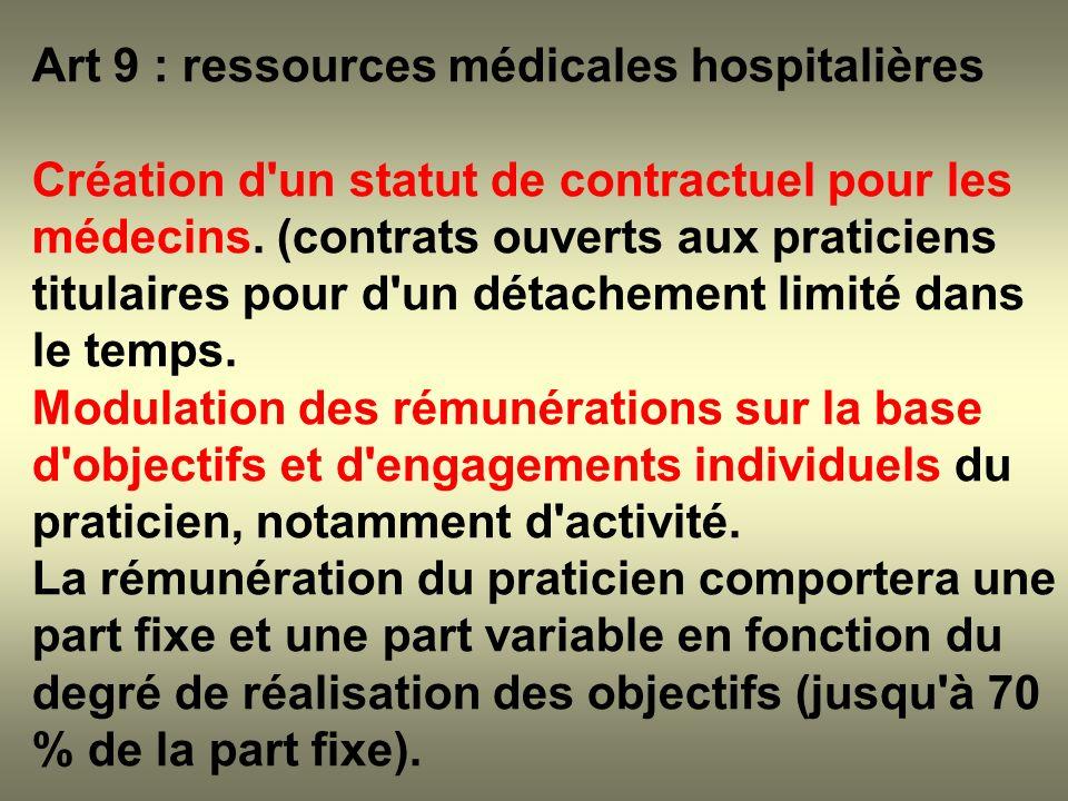 Art 9 : ressources médicales hospitalières