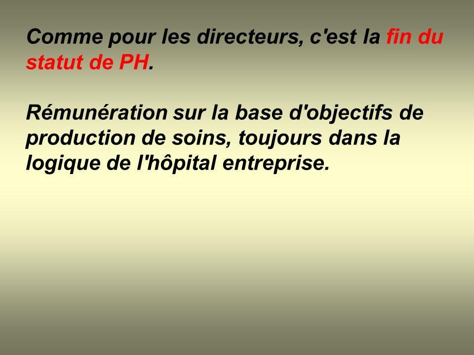 Comme pour les directeurs, c est la fin du statut de PH.