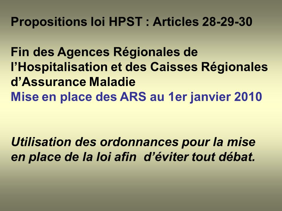 Propositions loi HPST : Articles 28-29-30