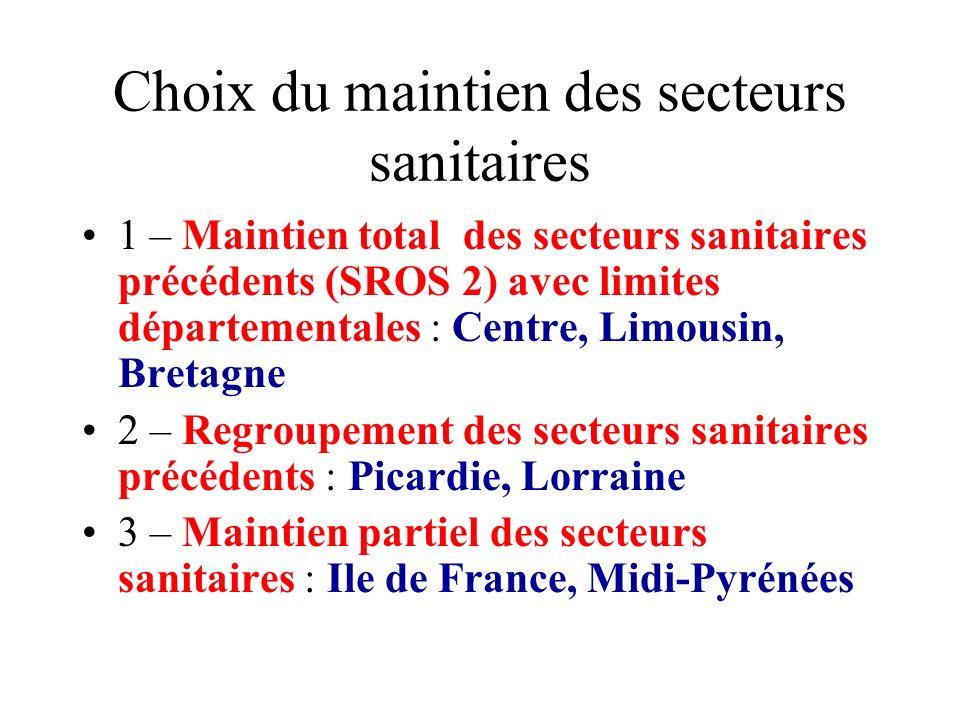 Choix du maintien des secteurs sanitaires
