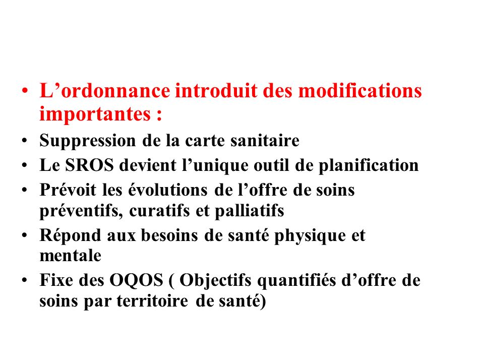 L'ordonnance introduit des modifications importantes :
