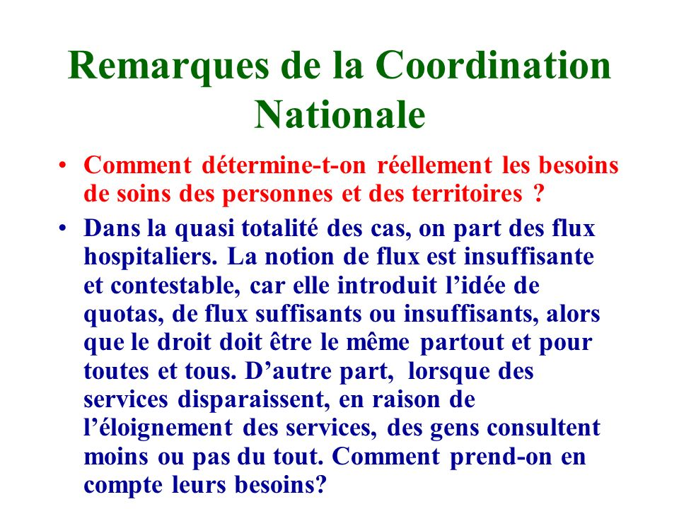 Remarques de la Coordination Nationale