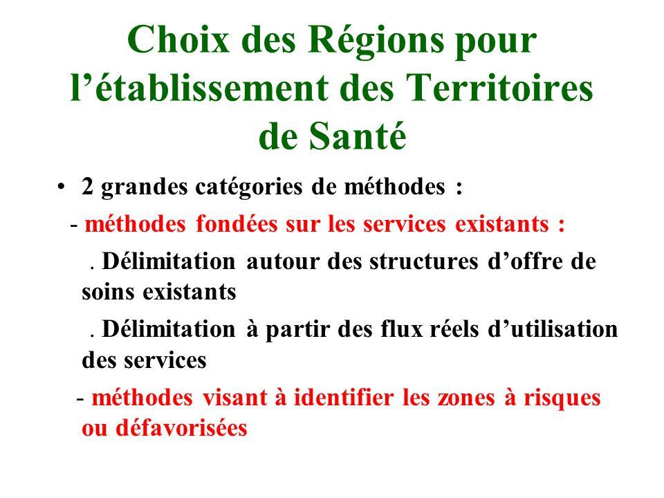Choix des Régions pour l'établissement des Territoires de Santé