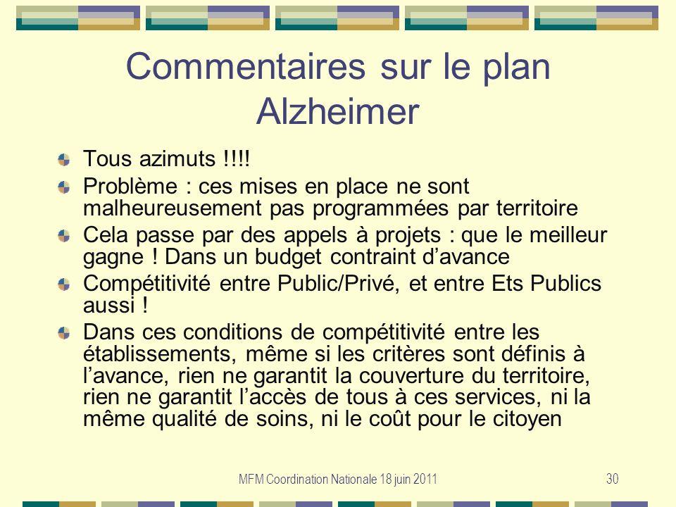 Commentaires sur le plan Alzheimer