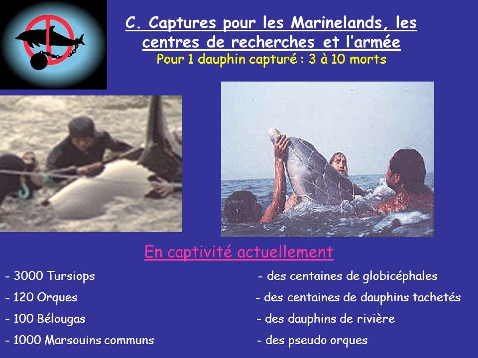 C. Captures pour les Marinelands, les centres de recherches et l'armée
