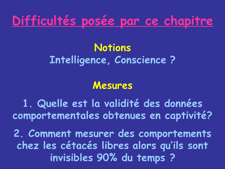Difficultés posée par ce chapitre Notions Intelligence, Conscience
