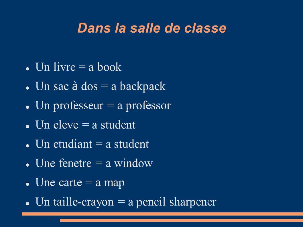 Dans la salle de classe Un livre = a book Un sac à dos = a backpack