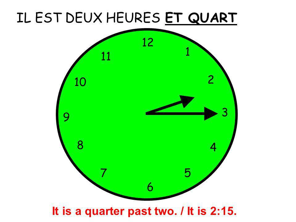 It is a quarter past two. / It is 2:15.