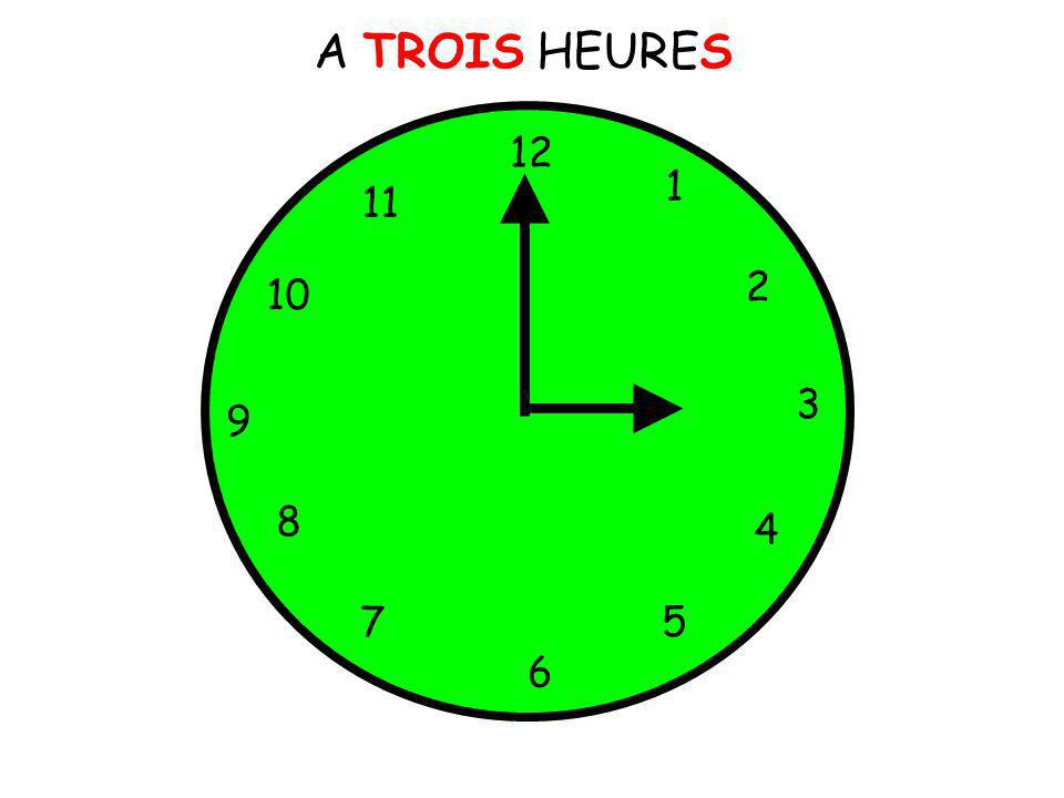 A TROIS HEURES 12 1 11 2 10 3 9 8 4 7 5 6