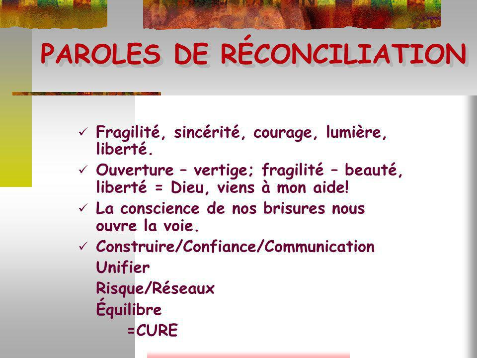 PAROLES DE RÉCONCILIATION