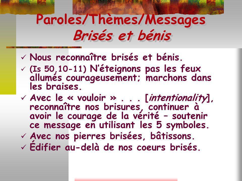 Paroles/Thèmes/Messages Brisés et bénis