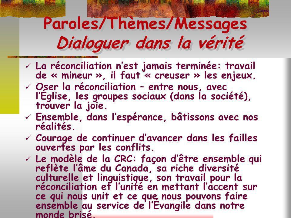 Paroles/Thèmes/Messages Dialoguer dans la vérité