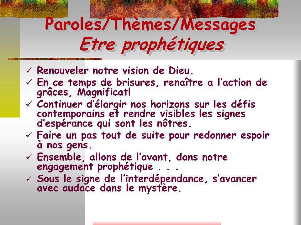 Paroles/Thèmes/Messages Etre prophétiques