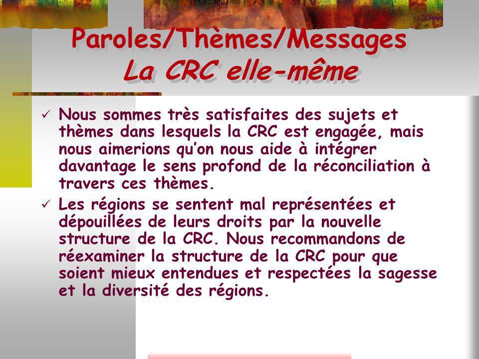 Paroles/Thèmes/Messages La CRC elle-même