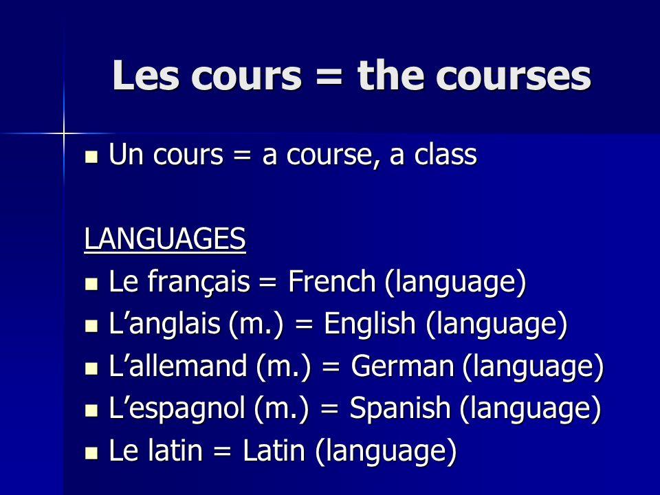 Les cours = the courses Un cours = a course, a class LANGUAGES
