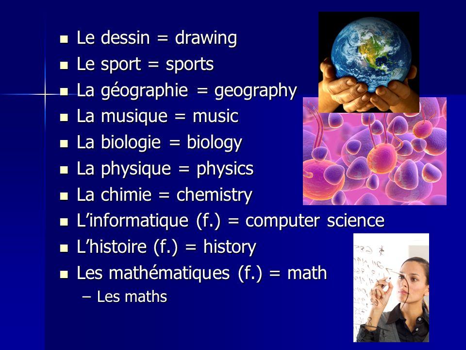 La géographie = geography La musique = music La biologie = biology