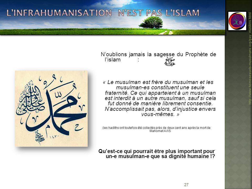 L'Infrahumanisation n'est pas l'islam